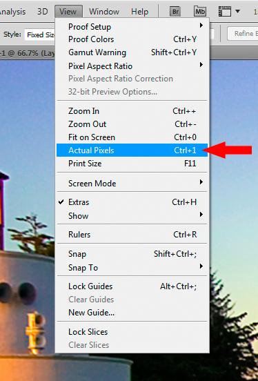 View>Actual Pixels